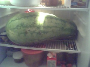 Watermelon in our fridge